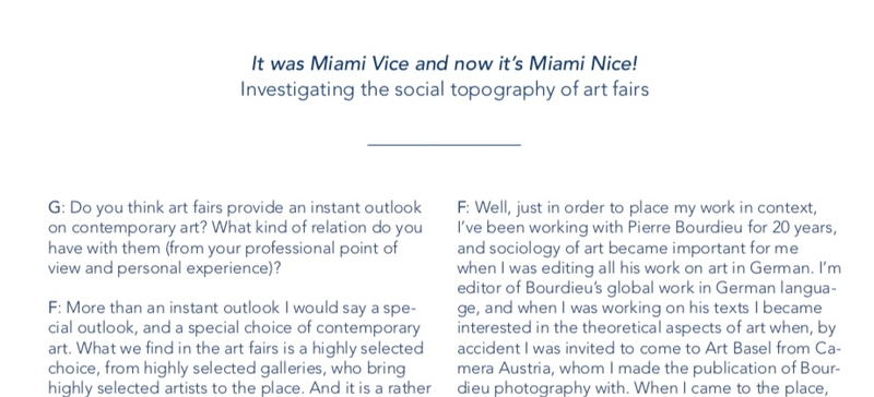 It was Miami Vice and now it's Miami Nice! Investigating the social topography of art fairs